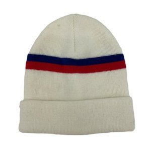 💜 5/$25 - Off white beanie with red blue stripes